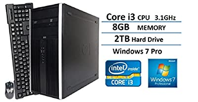 2016 New HP Elite 6200 Pro-Tower Business Desktop Computer, Intel Dual-Core i3 3.1GHz, 8GB DDR3 RAM, 2TB HDD, DVD, Windows 7 Professional (Certified Refurbished)