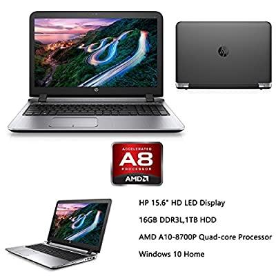 "2016 Newest HP Probook 15.6"" Premium High Performance Laptop, AMD Quad Core A10-8700P up to 3.2GHz, 16GB RAM, 1TB HDD, AMD Radeon R6 Graphics, DVD+/-RW, HDMI, VGA, Bluetooth, Wifi, Webcam, Windows 10"