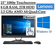 "2016 Newest Lenovo Premium 23"" Full HD 1920 x 1080 Touchscreen All-In-One Desktop PC, Quad-Core AMD A8-7410 2.2 GHz, 8GB RAM, 2TB 7200RPM HDD, DVD, Webcam, HDMI, Bluetooth, 802.11ac WiFi, Windows 10"