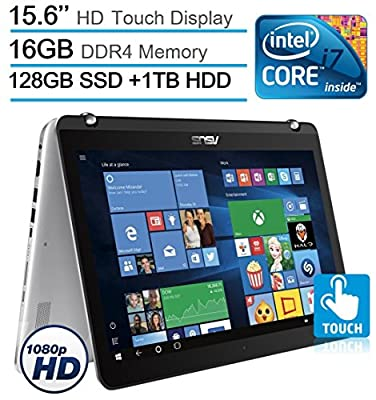 "2017 ASUS 15.6"" 2-in-1 Convertible Touchscreen FHD 1920x1080 Laptop PC, Intel Core i7-7500 2.7GHz Processor, 16GB DDR4 RAM, 1TB HDD+128GB SSD, Backlit Keyboard, HDMI, Bluetooth, Windows 10"