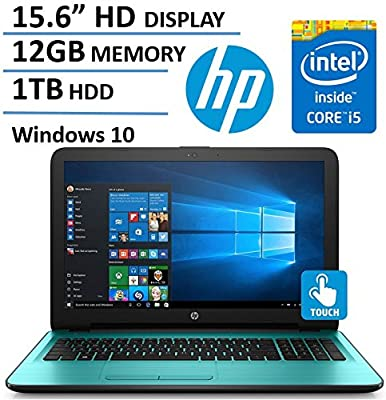 "2017 HP Flagship 15.6"" HD Touchscreen Laptop Computer, 7th Gen Intel Dual Core i5-7200U 2.50 GHz, 12GB DDR4 Memory, 1TB HDD, USB 3.1, DVDRW, HDMI, HD Webcam, Bluetooth, Windows 10 Home"