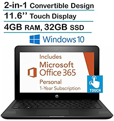 "2017 New Edition HP X360 11.6"" HD Touchscreen 2-in-1 Convertible Laptop PC, Intel Dual Core N3060, 4GB RAM, 32GB SSD, HDMI, Bluetooth, Windows 10- Free 1 Year Office 365 Personal Subscription"