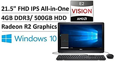 "2017 Newest Flagship Dell Inspiron 21.5"" FHD IPS All-in-One AIO Desktop, AMD Quad-Core E2-7110 up to 2.2GHz, 4GB DDR3, 500GB HDD, AMD Radeon R2, 802.11ac, Webcam, MaxxAudio Pro, VESA Option, Win 10"