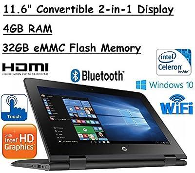 "2017 Newest Model HP x360 11.6"" Premium High Performance TouchScreen Laptop, Intel Dual-Core Celeron, 4GB RAM, 32GB Flash Memory, Windows 10, 1-Year Trial of Office 365"