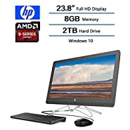"""2018 Newest Flagship HP 23.8"""" Full HD All-in-One Desktop, AMD A9-9400 Processor 2.4 GHz, 8 GB DDR4 SDRAM Memory, 2TB Hard Drive, Windows 10 Home W/Optical Drive, Keyboard and Mouse"""