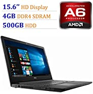 2018 Newest Premium Dell Inspiron 15.6-inch HD Display Laptop PC, 7th Gen AMD A6-9220 2.5GHz Processor, 4GB DDR4, 500GB HDD, WiFi, HDMI, Webcam, MaxxAudio, Bluetooth, DVD-RW, Windows 10-Black