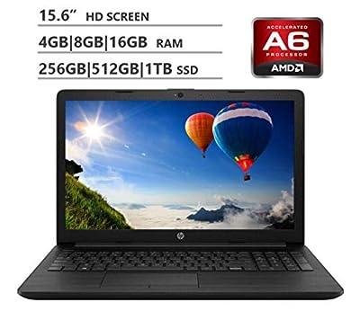 "2019 HP Premium 15.6"" HD Laptop, AMD A6 Dual-Core 2.6 GHz, 4GB|8GB|16GB RAM, 1TB|2TB HDD, 128GB|256GB|512GB|1TB SSD, WiFi Bluetooth HD Webcam 3-in-1 SD Reader HDMI, Windows 10, Black"