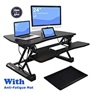 """36"""" Height Adjustable Standing Desk Converter Stand Up Desk Riser with Free Anti-fatigue Mat"""