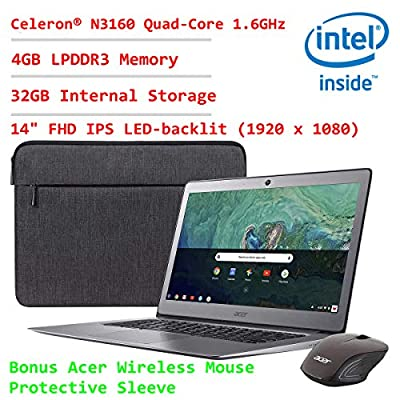 """Acer 14"""" High Performance Aluminum FHD IPS Display Chromebook~Celeron N3160 Quad-Core Processor Up to 2.24Ghz~4GB RAM~32GB SSD~HDMI~WiFi~Bluetooth~HD Cam~Chrome OS(Certified Refurbished)"""