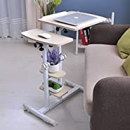"Adjustable Computer Table with Wheels 18.89"" Portable Overbed Desk Laptop Computer Stand Desk Cart Tray - Stand up Desk Mobile Standing Desk White Work Station - For Home & Office Use"