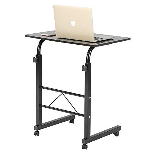 buy adjustable height metal rolling mobile notebook laptop desk workstation stand dark brown at. Black Bedroom Furniture Sets. Home Design Ideas