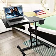 Adjustable Height Rolling Computer Desk Table Over Sofa, Bed Bed Table Work Cart With Pen Holder