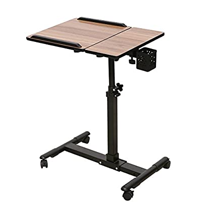 Adjustable Rolling Mobile Laptop Computer Table Desk Cart Thomas