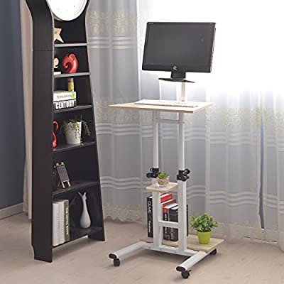 Adjustable Stand Up Desk Computer Standing Desk Mobile Workstation - With Standing & Seating 2 Modes Fit laptop and Computer Monitors - Stand Up Laptop Cart White Mobile PC Work Station