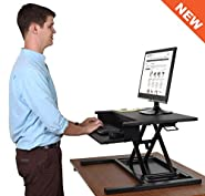 AirRise Pro – Standing Desk Converter | Adjustable Height Pneumatic Stand Up Desk – Sit to Stand with Your Current Desk in Seconds