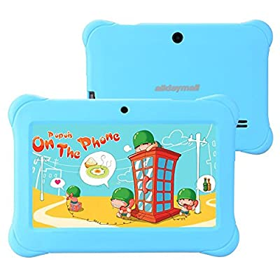 "Alldaymall 7"" Quad Core Android Tablets for kids, with Wi-Fi and Dual Camera, 8GB+1GB, HD Kids Edition w/ iWawa Pre-Installed Bundle with Blue Kid-Proof Silicone Case"