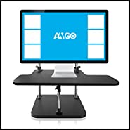 "Amgo Height Adjustable Standing Desk ""Steady Triangle Stand Design"", Instantly Convert any Desk to a Sit/Stand up Desk with Keyboard Tray"