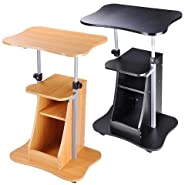 AMPERSAND SHOPS Multipurpose Height Adjustable Mobile Rolling Laptop Notebook Stand Lectern Standing Desk with Storage Shelf