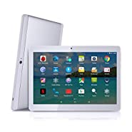 "Android Tablet with SIM Card Slot Unlocked 10 inch - YELLYOUTH 10.1"" IPS Screen Octa Core 4GB RAM 64GB ROM 3G Phablet with WiFi GPS Bluetooth Tablets - White with Silver"