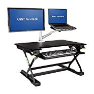 ANNT Nexdesk Height Adjustable Standing Desk Elevating Sit to Stand Table with Retractable Keyboard Tray