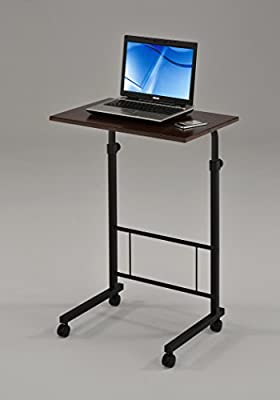 Cappuccino / Black Frame Adjustable Lap Table Portable Laptop Computer Stand Desk Cart Tray Side Table for Bed Sofa Hospital Nursing Reading Breakfast