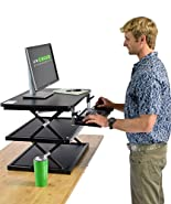 CHANGEdesk 2- Tall Ergonomic Laptop & Desktop Standing Desk Conversion + Height Adjustable Keyboard Tray. Easy Sit to Stand Up Computer Riser Table