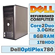 Dell OptiPlex 780 MT/Core 2 Duo 3.00 GHz/ 8GB DDR3 / 1TB HDD/DVD-RW/WINDOWS 10 PRO 64 BIT(Certified Refurbished)