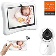 Dragon Touch FUTURE 1 720P Baby Monitor with 7 Inch IPS LCD Touch Screen Tablet, Digital Camera, Temperature Monitoring, Remote Camera Pan-Tilt-Zoom, Lullaby, Night Vision, Two Way Audio and Recording
