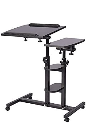 EaseOffice Angle & Height Adjustable Mobile Laptop Desk Cart Rolling Laptop Desk Cart Over Bed Hospital Table Stand