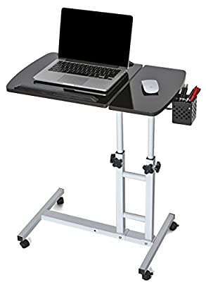 EaseOffice Height Adjustable Rolling Laptop Desk Cart Mobile Laptop Desk Cart Home Office Hospital Table, Black
