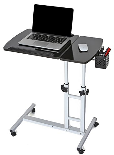 EaseOffice Height Adjustable Rolling Laptop Desk Cart Mobile Laptop Desk  Cart Home Office Hospital Table, Black