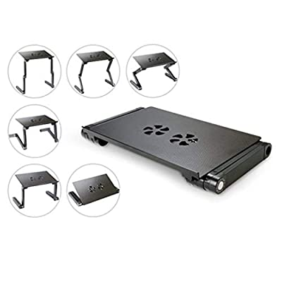 Executive Office Solutions Portable Adjustable Aluminum Laptop Desk/Stand/Table Vented w/CPU Fans Mouse Pad Side Mount-Notebook-MacBook-Light Weight Ergonomic TV Bed Lap Tray Stand up