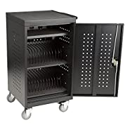 "Fat Catalog ALT-ADN1008-SO 30 Bay Laptop/Tablet Storage Charging Cart, Assembled, 35"" Height, 22 3/8"" Width, 22"" Length, Black"