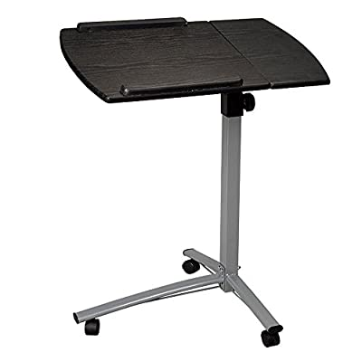 FCH Rolling Laptop Desk Cart with Casters Angle Height Adjustable Laptop Notebook Side Table Stands,Black