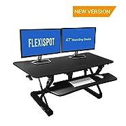 """FlexiSpot Adjustable Standing Desk - 47"""" wide platform Stand Up Desk Riser with Retractable Keyboard Tray (L-Size-Black)"""