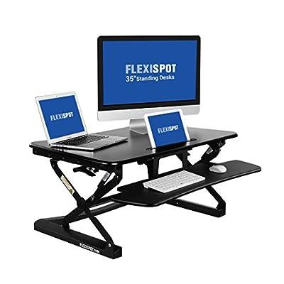 "FlexiSpot Height Adjustable Stand up Desk - 35"" wide platform Standing Desk Riser with Removable Keyboard Tray"