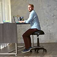 Gaiam Adjustable Balance Ball Stool, Stability Ball Swivel Chair for Standing and Seated Desks in Home or Office