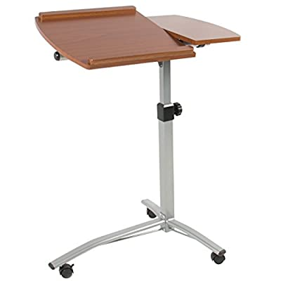 Goplus Angle Height Adjustable Rolling Laptop Desk Cart Bed Hospital Table W/ Split-Top