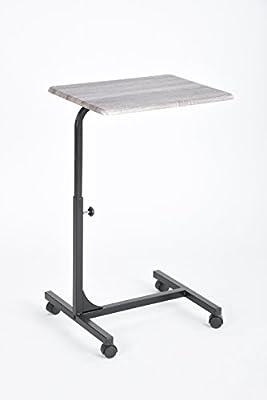 Grey Oak Top / Black Metal Adjustable Computer Laptop Breakfast Mobile Stand Cart