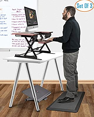"Halter All In One Office Ergonomics Bundle - ED-258+ Preassembled Height Adjustable Elevating Desktop - 3/4"" Non-Slip Anti-Fatigue Comfort Mat - F7011 Premium Adjustable Height and Angle Foot Rest"