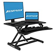 Height Adjustable Standing Desk, Alloyseed Stand Up Desk Converter Ergonomic Sit Stand Gas Spring Riser Workstation, with Quick Release Keyboard Tray