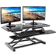 """Height Adjustable Standing Desk Converter - EleTab Sit Stand Desk Riser Stand up Desktop 37"""" Tabletop Workstation"""