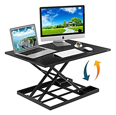 "Height Adjustable Standing Desk Converter Ergonomic Sit Stand Black Riser Large Size 32 x 22"" Inch Gas Spring Workstation Infinite Position Easy Air Up & Down Dual Monitor Computer Office NO ASSEMBLY"