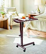 Home N Kitchenware Collection Tilt-Top, Rolling, and Adjustable Wooden Laptop Notebook Cart Stand