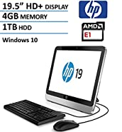 HP 19 All-In-One AIO 19.5 Inch Desktop Computer (HD+ LED, AMD Dual-Core 1.35GHz CPU, 4GB DDR3 Memory, 1TB HDD, DVD RW, USB3.0, Wifi, RJ-45, Windows 10 Home) (Certified Refurbished)