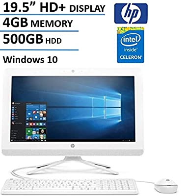 "HP 19.5"" HD+ All-In-One AIO Desktop Computer, Intel Dual Core Celeron J3060 1.6Ghz CPU, 4GB RAM, 500GB HDD, DVD, HDMI, USB 3.0, Webcam, Bluetooth, Windows 10 (Certified Refurbished)"