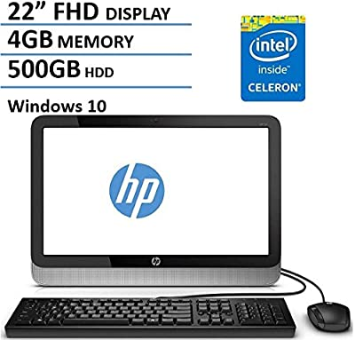 HP 22 Inch FHD IPS All-in-One Desktop Computer (Intel Celeron Dual Core 1.6GHz CPU, 4GB DDR3 RAM, 500GB HDD, USB 3.0, Webcam, Wifi, DVDRW, Bluetooth, HDMI, Windows 10) (Certified Refurbished)