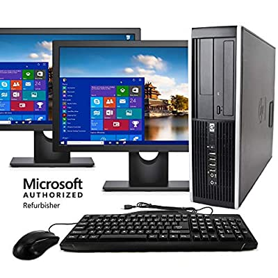 """HP Elite Desktop Computer, Intel Core i5 3.1GHz, 8GB RAM, 1TB SATA HDD, Keyboard & Mouse, Wi-Fi, Dual 19"""" LCD Monitors (Brands Vary), DVD-ROM, Windows 10, (Upgrades Available) (Certified Refurbished)"""