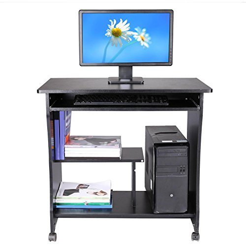 Kaluo Movable Computer Desk Study Workstation Wooden Table With Sliding Keyboard Shelf And Drawers For Home Office Us Stock