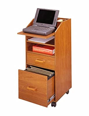 Laptop Cart w Accessory & File Drawers in Natural Cherry Finish